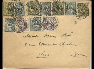 Neu Kaledonien 1922, 11 Marken auf portorichtigem Brief v. Noumea n. Frankreich