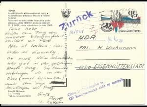 """DDR, """"Zurück"""" u. """"Ohne...in Eisenhüttenstadt nicht zu ermittel"""" auf CSSR Karte"""