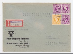 AM Post 1946, 6+3x12 Pf. auf portorichtigem Einschreiben Brief v. Marquartstein