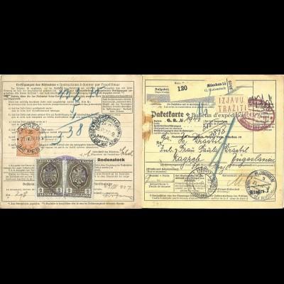 DR 1937, viol. München Gebühr bezahlt auf Paketkarte m. Jugoslawien Portomarken