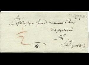 """Preussen, L2 ARNSWALDE klar auf Brief n. Gut Schlagenthin. """"1/2"""" SGr Botenlohn"""