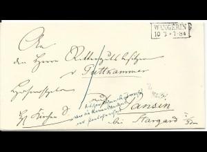 Preussen, Westpommern R2 Wangerin klar auf Brief n. Pansin b. Stargardt