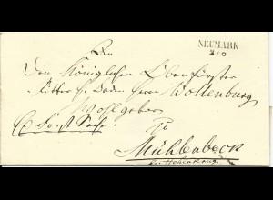 Preussen, L2 NEUMARK klar auf gesiegeltem Brief n. Mühlenbeck b. Hohenkrug