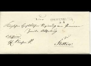 Preussen, Westpommern L2 GREIFENHAGEN klar auf gesiegeltem Brief n. Stettin