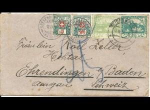 Tschechoslowakei 1919, 2+20 h. auf Brief v. Reichenberg m. Schweiz Porto Marken