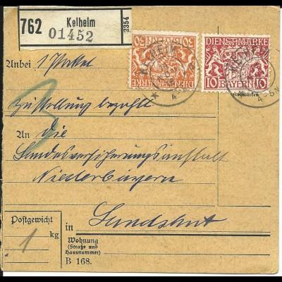 Bayern 1916, 10+30 Pf. Dienst auf Paketkarte v. Kelheim