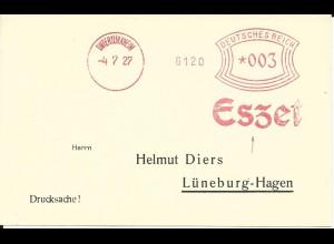 DR 1927, Maschinen Freistempel Eszet Untertürkheim auf Blanco Karte