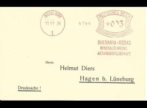 DR 1926, Maschinen Freistempel Rhenania Ossag Düsseldorf auf Blanco Karte
