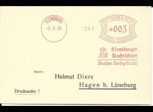 DR 1927, Maschinen Freistempel Flensburg Nachrichten auf Blanco Karte