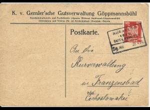 DR 1926, Bahnpost R4 Nürnberg - Eger auf Karte v. Göppmannsbühl, Kirchenlaibach