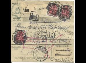 DR 1921, 3x4+rs. 2x1 Mk. auf Paketkarte m. stummem Stpl. v. Kiel n. Norwegen