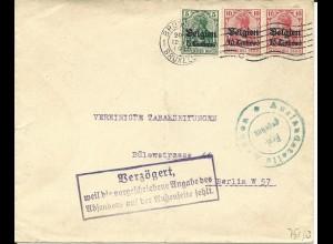 Belgien 1915, 5+2x10 C. auf Brief v. Brüssel m. Zensur u. VERZÖGERT... Stempel