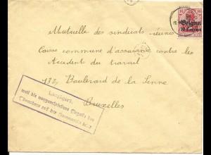 Belgien 1915, 10 C. auf Brief m. Zensur u. VERZÖGERT... Stempel