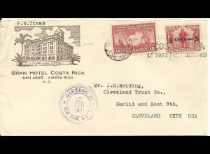 Costa Rica 1941, 5/13+10 C. auf Hotel Brief v. San José m. Cartero 6 -Stpl.