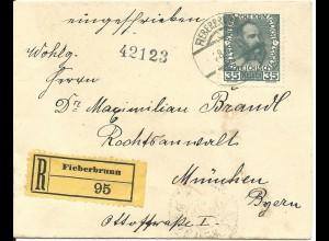 Österreich 1914, 35 H. auf Einschreiben Brief v. Fieberbrunn n. Bayern.