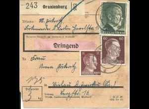 """DR 1942, 1 Mk.+15+60 Pf. auf """"Dringend"""" Paketkarte v. Oranienburg"""