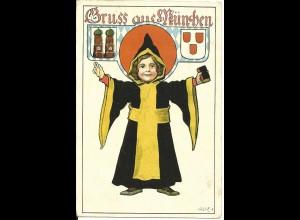 Gruß aus München, 1922 v. Tutzing n. NL gebr. Farb AK m. Münchener Kindl