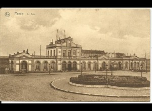 Belgien, Renaix Ronse Bahnhof, 1927 gebr. sw-AK. Sonderstpl. Textiel Centrum