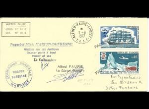 Antarktis u. Frankreich Schiffspost Mischfrankatur auf Polar Brief m. 5 Stempeln