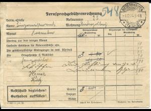 DR 1924, Vordruck Brief f. telefon Gebühren Rechnung v. NIEDERNHAUSEN Taunus