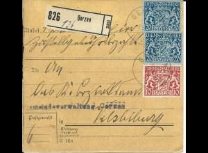 Bayern 1918, 2x20+10 Pf. Dienst auf Paketkarte v. GERZEN