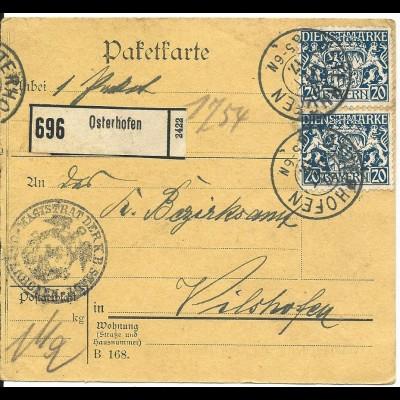 Bayern 1917, 2x20 Pf. Dienst auf Paketkarte v. OSTERHOFEN.
