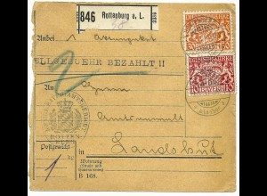 Bayern 1917, 10+30 Pf Dienst auf Paketkarte v. ROTTENBURG a.L.