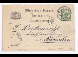 Bayern P 46/06 A, v. Österreich gebrauchter Ganzsache Antwortteil. #441