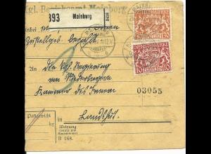 Bayern 1917, 10+30 Pf. Dienst auf Paketkarte v. MAINBURG n. Landshut.