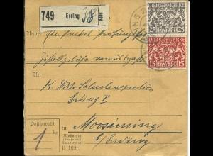 Bayern 1918, 15+25 Pf. Dienst auf Paketkarte v. Erding n. Moosinning.