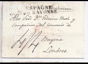 Spanien GB 1827, L2 Guipuzcoa Villareal in rot auf Brief nach London. #379