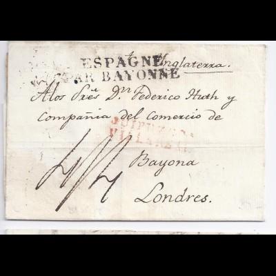 Spanien GB 1827, L2 Guipuzcoa Villareal in rot auf Brief nach London. #379
