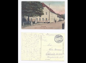 Cunewalde, Gasthaus z Blauen Kugel m. Personen, Farb AK sauber gebr. 1915.#430