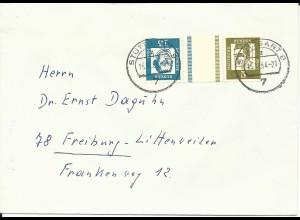 BRD 1964, Zusammendruck KZ 2, 5+15 Pf. m. Zwischensteg auf Brief v. Stuttgart