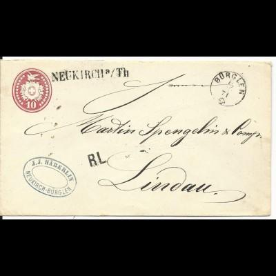 Schweiz 1871, L1 Neukirch a/Th u. K1 BÜRGLEN auf 10 C. Tübli Ganzsache Brief