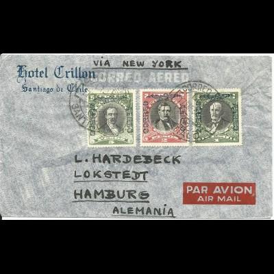 Chile 1934 , 1+2+5 P. auf Luftpost Brief v. Santiago via New York n. Deutschland