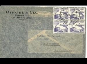 Chile, 4er-Block 5$ Correo Aereo auf Luftpost Brief v. Valparaiso n. Südafrika.