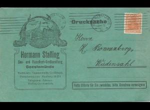 DR 1920, 10 Pf. auf Reklame Klappkarte v. Geestemünde