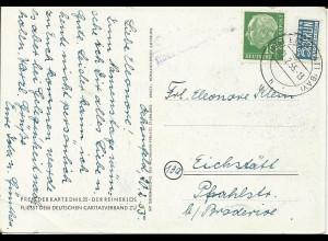 1955, Ochsenfeld ü. Eichstätt, Landpoststellen Stpl. auf Karte m. Notopfer #2847