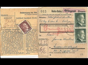 DR 1942, Paar 1 Mk. vorder- u. 15 Pf. rs. auf Dringend Paketkarte v. Baden-Baden