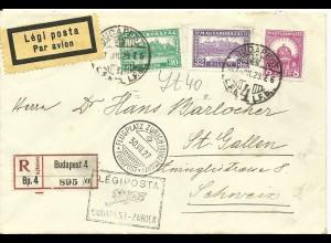 Ungarn - Schweiz 1927, Erstflug Brief Budapest-Zürich. (SLH 200.-SFr.)
