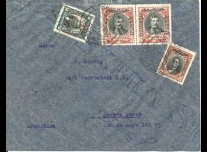 Chile 1934, 20+50 C.+Paar 2 P. (alle CORREO AEREO) auf Luftpost Brief v Santiago