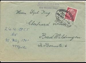 1956, Obereichstätt ü. Eichstätt, Landpoststellen Stpl. auf Bahnpost Brief #1205