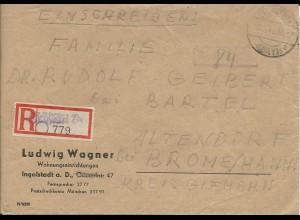 """1946, Eichstätt By, eingestempelter Reko-Zettel auf """"Gebühr bezahlt"""" Brief #2347"""