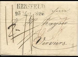 Taxis 1826, L2 HERSFELD auf sauberem Porto Brief n. Belgien.