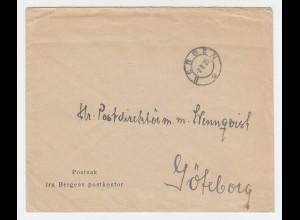 Norwegen 1925, Postsache Brief v. Bergen n. Schweden. Portofrei!