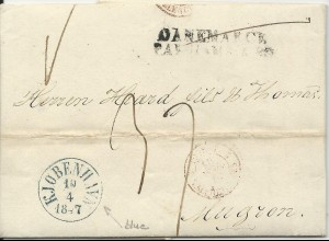 Dänemark 1847, blau K1 Kjobenhavn auf Porto Brief n. Frankreich. #2939