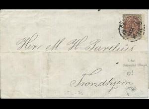 Dänemark 1876, 12 öre m. Schweden Bahnpost Stempel auf Brief n. Norwegen. #412