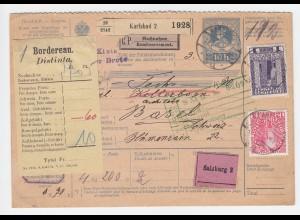 Österreich 1911, 12 H.+1 Kr. auf 10 H. Paketkte v. Karlsbad m. Schweiz Borderaux