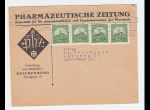 Tschechoslowakei 1933, 4x50 H. auf Pharmazie Brief v. Reichenberg n. Leipzig.